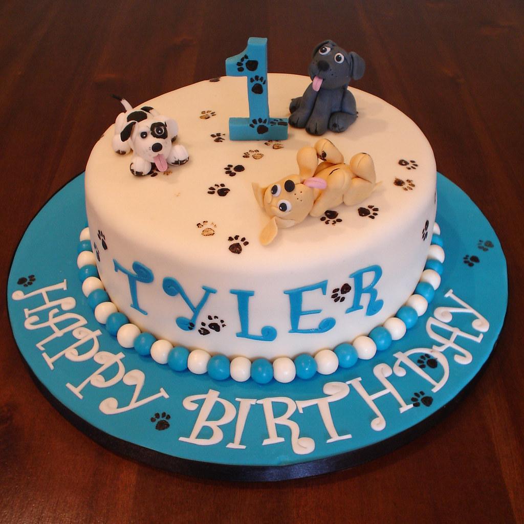 Naughty Puppies 1st Birthday Cake