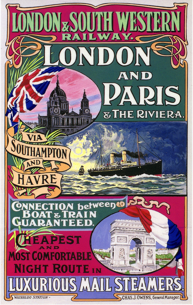 London And Paris Poster Edwardian Period Reproduced As