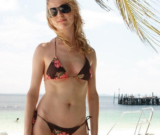 Blonde Bikini Girl Standing On Beach Rawa Island Malaysia By Mintimage
