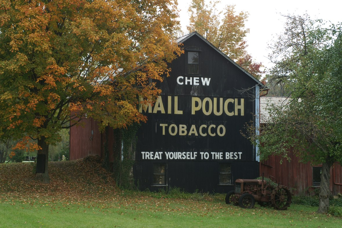 Mail Pouch Tobacco barn advertisement - along Ohio State Route 88 near Ravenna, Ohio USA - October 18, 2007
