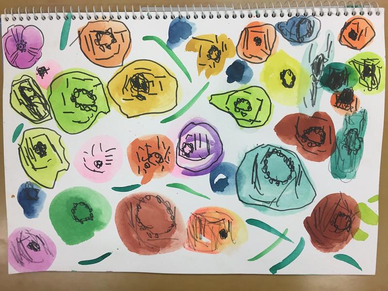 물감과 사인펜으로 표현하는 봄 꽃