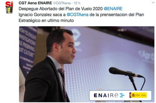 Irónico tweet de CGT Aena ENAIRE en la mañana de hoy...