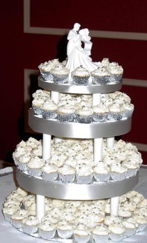 Wedding cupcake Cake   Mini cupcakes with marzipan icing   Katie         Wedding cupcake Cake   by The Cake Stop