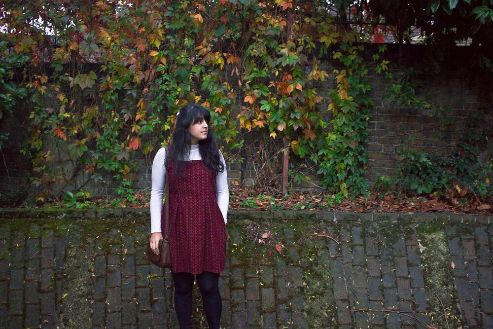 pinafore, polo neck, style, autumn, garden walk, garden winter,