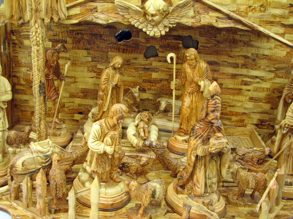 Bethlehem Christmas Crib Carved In Olive Wood