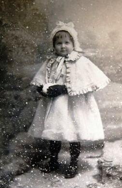 Vintage Children Winter Girl Old Vintage Photo
