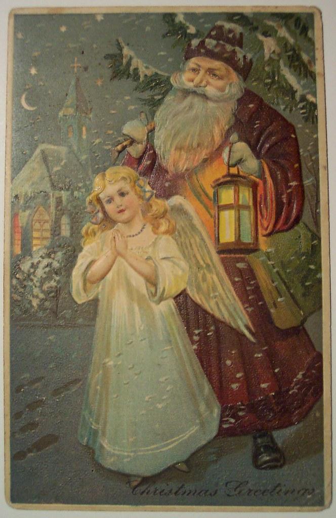 Vintage Christmas Postcard Santa And Angel Dave Flickr