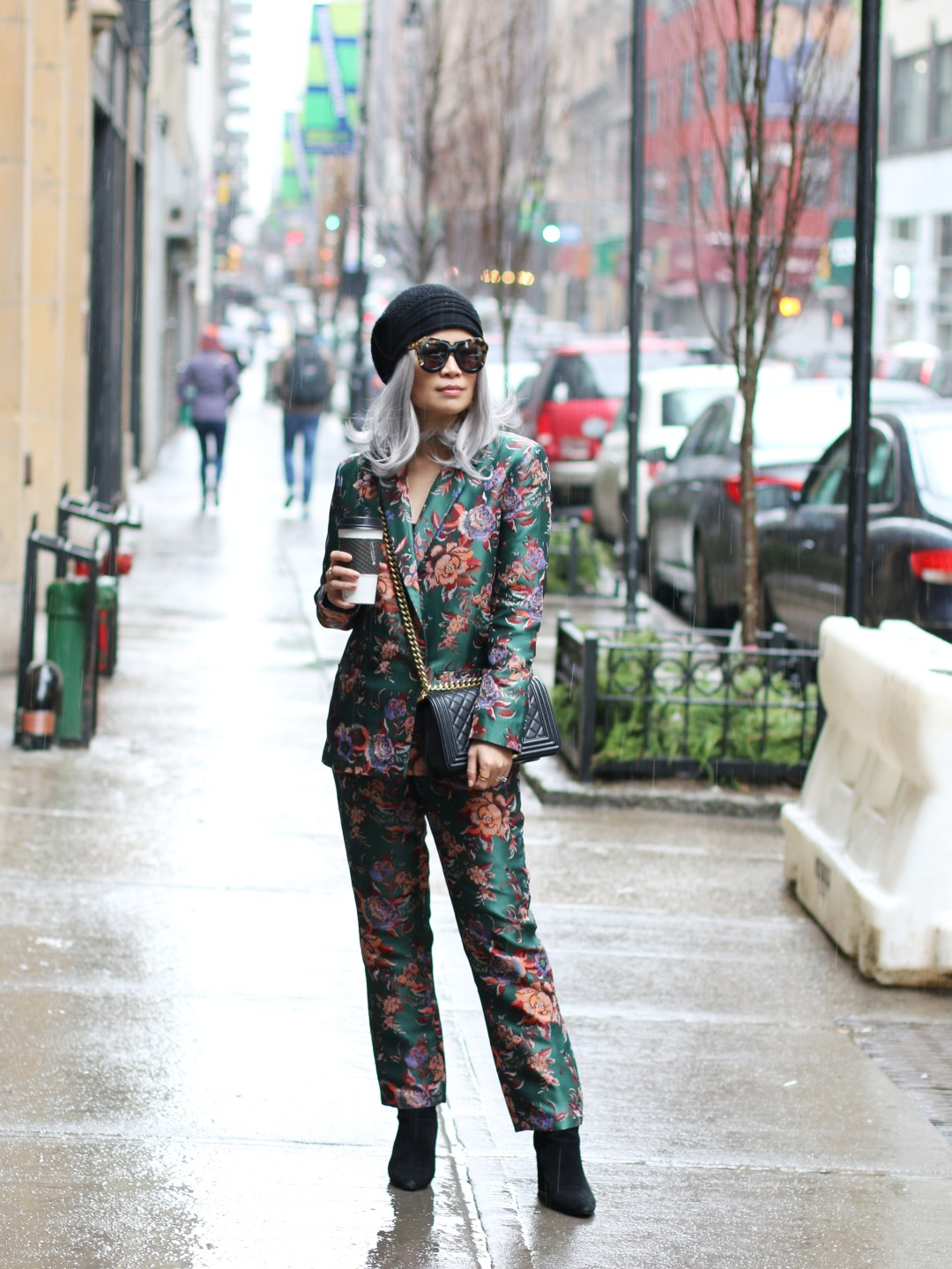 New York Fashion Week Day 4 Outfit, green jacquard floral suit