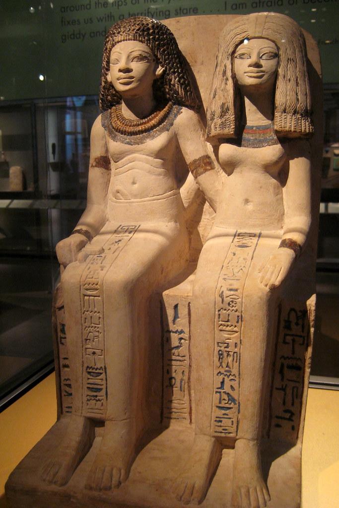 NYC Brooklyn Museum Pair Statue Of Nebsen And Nebet Ta