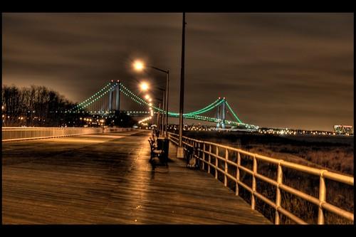 South Beach Boardwalk Verrazano Narrows Bridge This