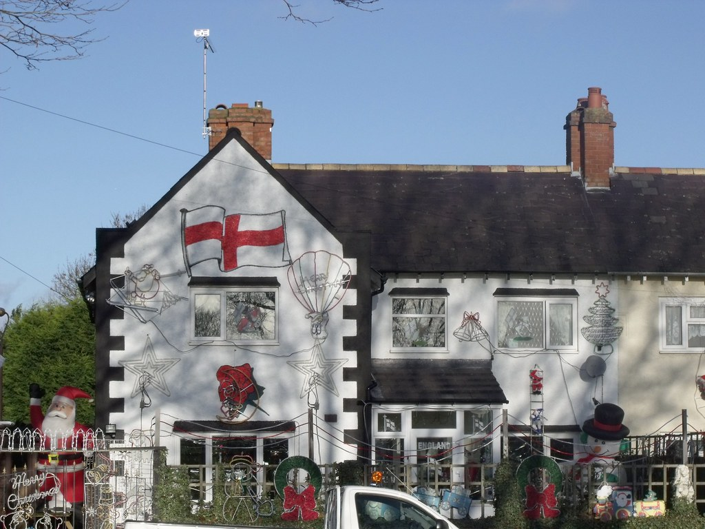 England Fans House With Christmas Decorations In Billesle