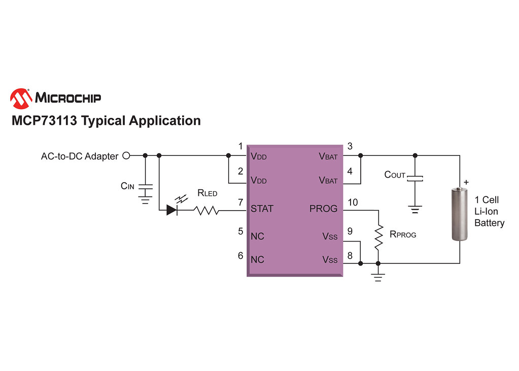 Circuit Diagram, Microchip's MCP73113 Li-Ion Battery Charg