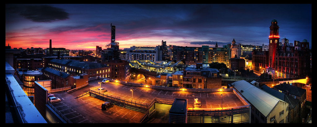 Manchester UK Panorama Taken From The Roof Of The