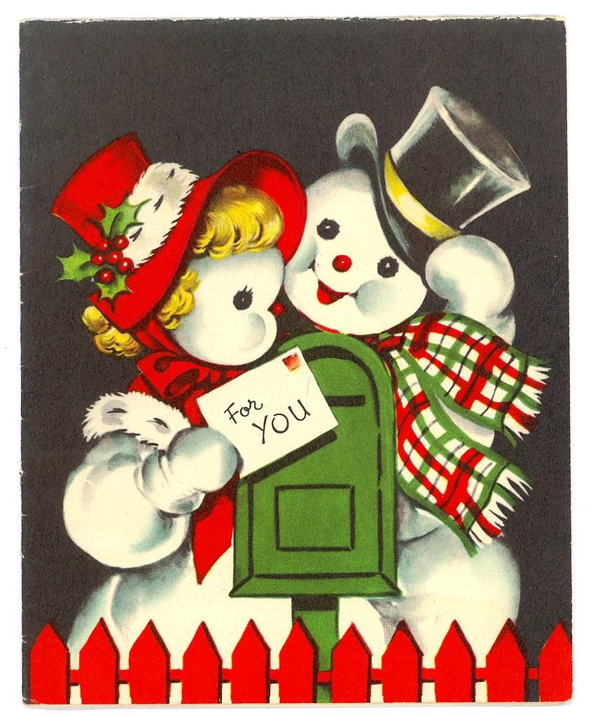 Vintage Mr Amp Mrs Snowman Christmas Card MadeByMike Flickr