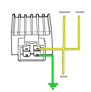 Wiring a voltage regulatorrectifier on a Z50R | This is