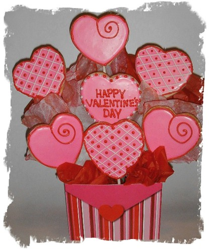 Valentine's Day cookie bouquet | sugar valentines cookies ...