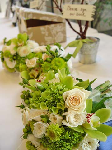 Modern Wedding Bouquets Green And Ivory Orchids Roses