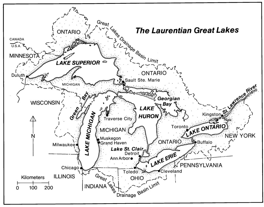 Map Of The Laurentian Great Lakes