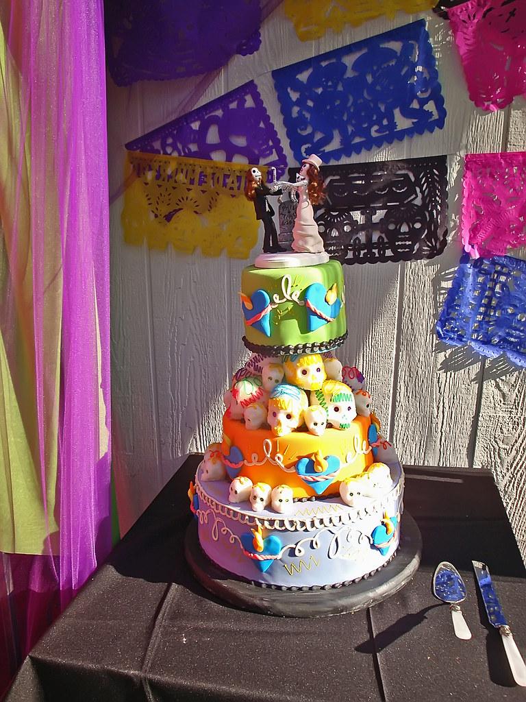 Dia Day Los Muertos Heavy Metal Wedding Cake Three Tiers