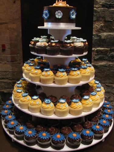 Orange Blue Brown And White Wedding Cupcake Tower Mon