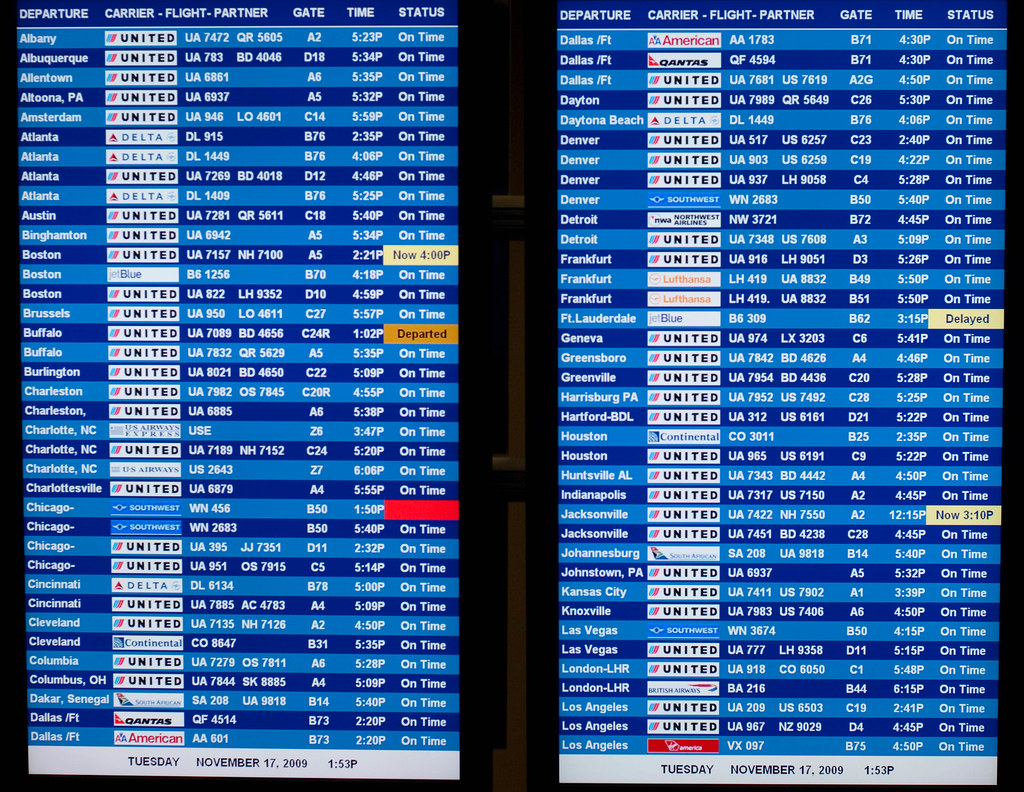 Departure And Arrival Board At Dulles Airport Washington