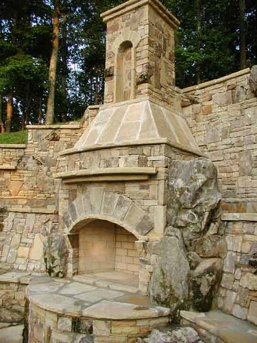 Custom Outdoor Stone Fireplace Huge Custom Outdoor