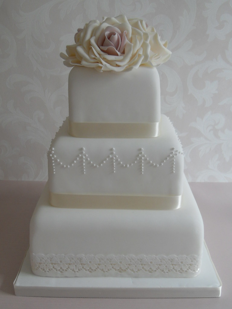 Lace Wedding Cake With Sugar Flowers I Designed This
