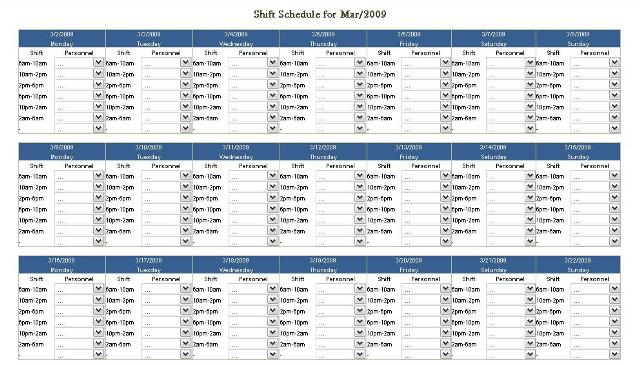 Monthly Shift Schedule This Template Is Prepared For Assig Flickr