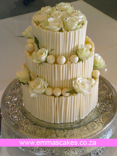 White Chocolate Cigar Wedding Cake Emmas Wedding Cakes