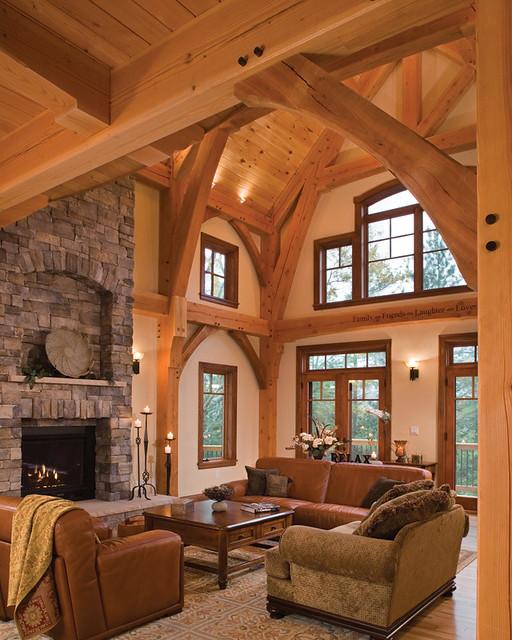 Timber Treasure Timber Frame Home Great Room Elegant