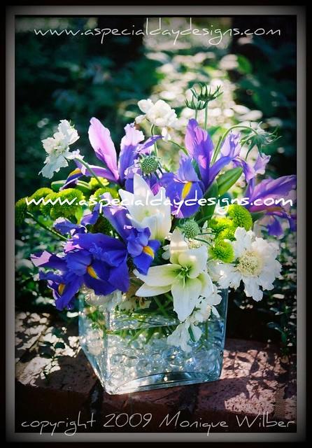 Wedding Centerpiece Cube Iris Lilies Wedding Centerpiece