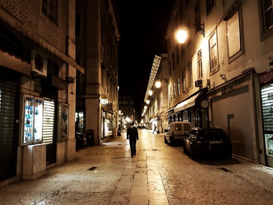 pedestrian street in lisbon at night