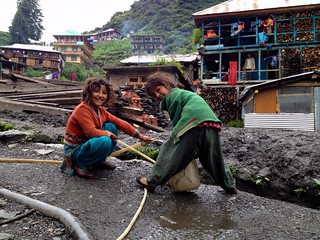 small girls working in malana village