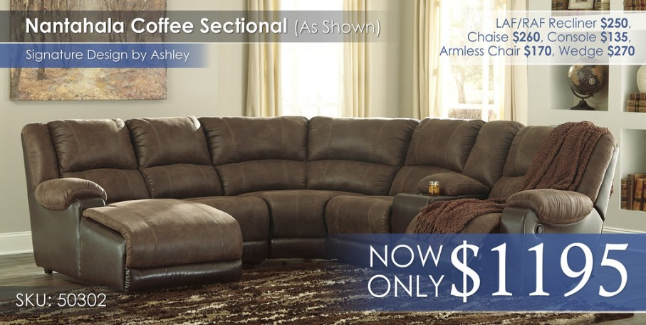 Nantahala Coffee Sectional Special 50302