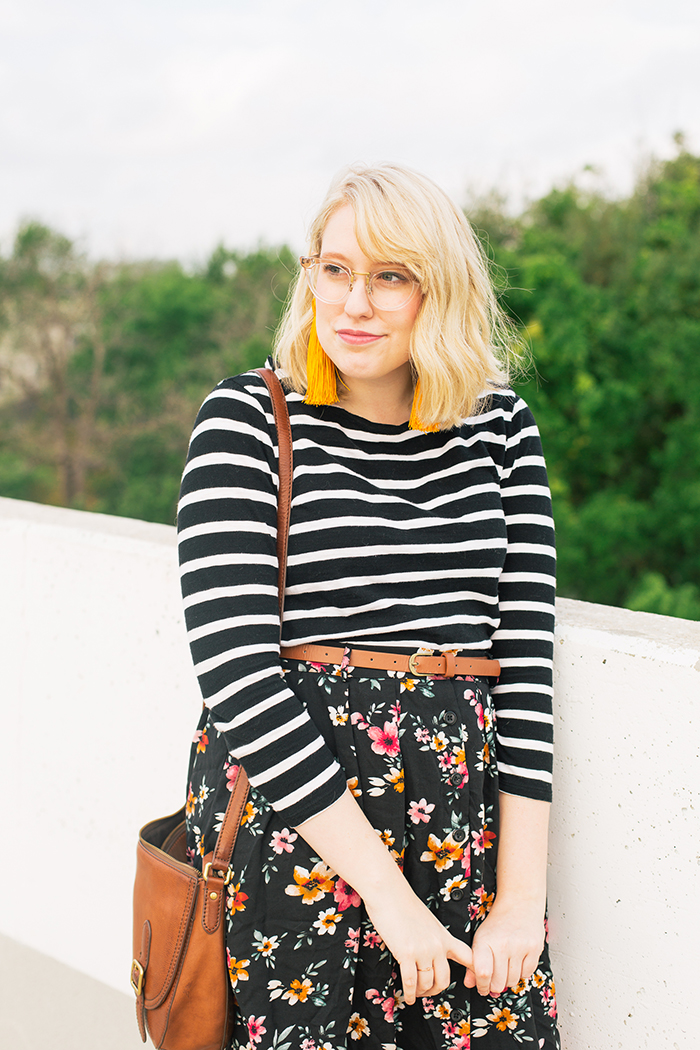 austin fashion blogger stripes and modcloth floral skirt8