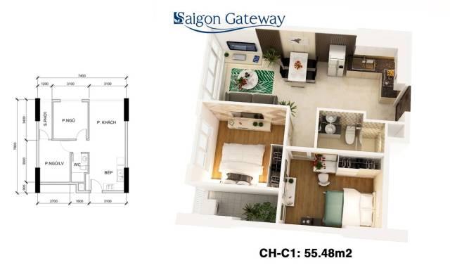 Căn hộ SAIGON GATEWAY 55.48 m2