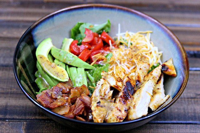 honey mustard chicken avocado bacon salad