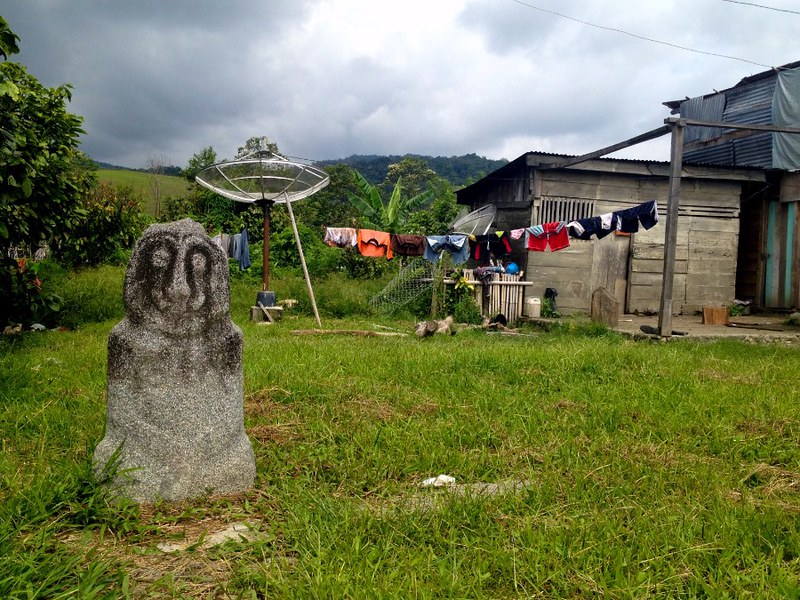 ancient statue in house yard in wuasa sulawesi