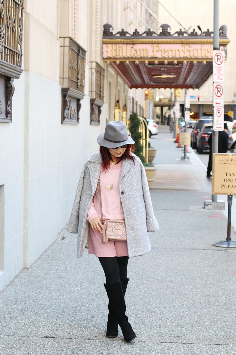 pink-dress-gray-coat-vionic-shoes-boots-1