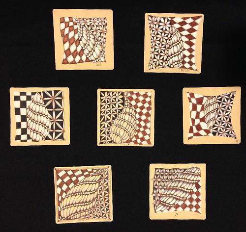 """Introduction to Zentangle Renaissance"" class tiles"