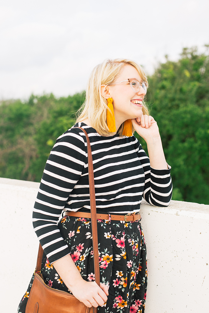 austin fashion blogger stripes and modcloth floral skirt7