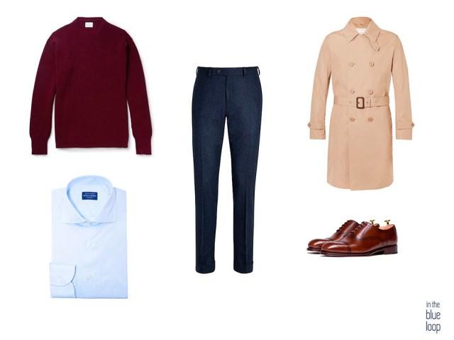 Look smart casual para hombre con camisa, jersey, trench o gabardina, zapatos oxford masculinos y pantalón de vestir