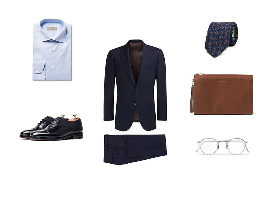 Look formal masculino con traje para hombre y camisa, corbata, zapatos oxford, gafas y cartera
