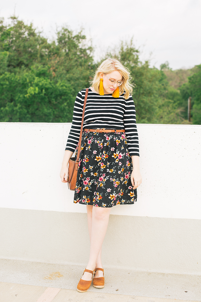 austin fashion blogger stripes and modcloth floral skirt3