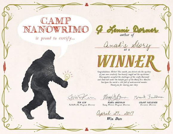 @JLenniDorner #Nanowrimo Camp-2017-Winner-Certificate