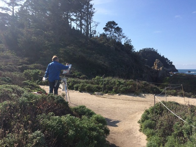 Man Painting At Point Lobos