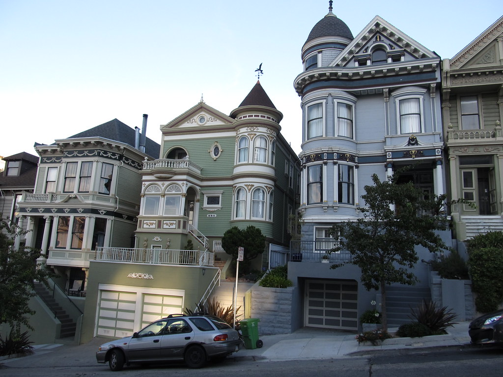 Victorian Mansions Of Alamo Square Neighborhood San Franc