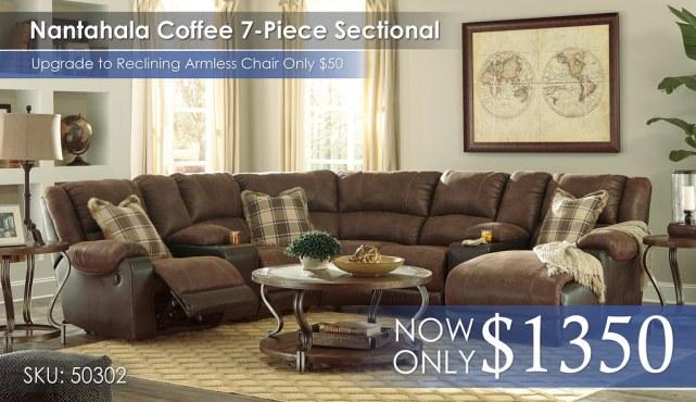 Nantahala Coffee 7PC Sectional 50302-40-57-19-77-46-57-17-T739-PILLOWS