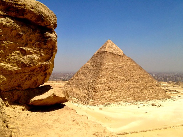 view of cairo from the top of giza pyramid