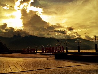 palu, sulawesi main square and view of mountains in the background